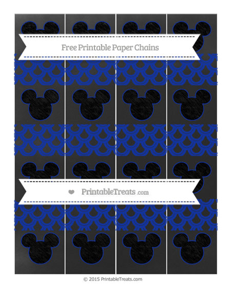 Free Egyptian Blue Fish Scale Pattern Chalk Style Mickey Mouse Paper Chains