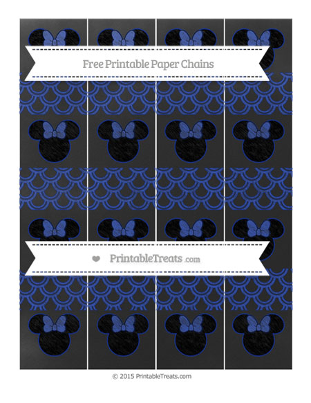 Free Egyptian Blue Fish Scale Pattern Chalk Style Minnie Mouse Paper Chains