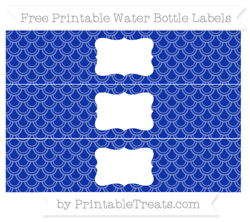 Free Egyptian Blue Fish Scale Pattern Water Bottle Labels