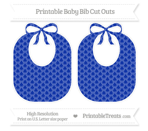 Free Egyptian Blue Fish Scale Pattern Large Baby Bib Cut Outs