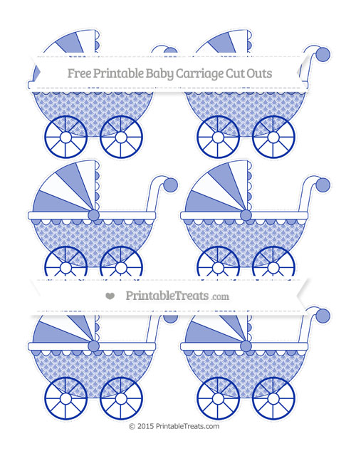 Free Egyptian Blue Fish Scale Pattern Small Baby Carriage Cut Outs
