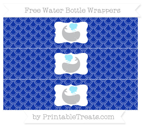 Free Egyptian Blue Fish Scale Pattern Whale Water Bottle Wrappers