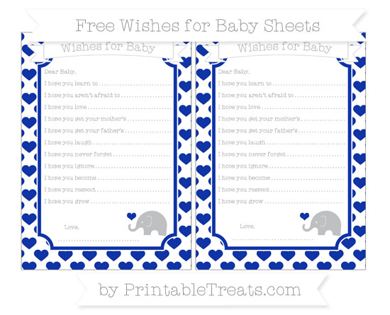 Free Egyptian Blue Heart Pattern Baby Elephant Wishes for Baby Sheets