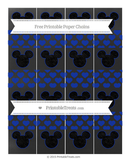 Free Egyptian Blue Heart Pattern Chalk Style Mickey Mouse Paper Chains