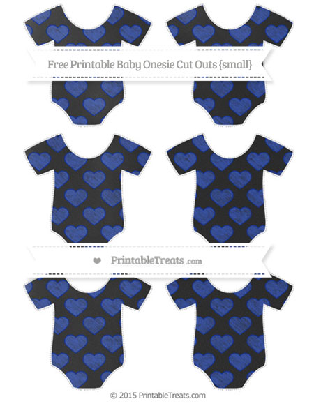 Free Egyptian Blue Heart Pattern Chalk Style Small Baby Onesie Cut Outs
