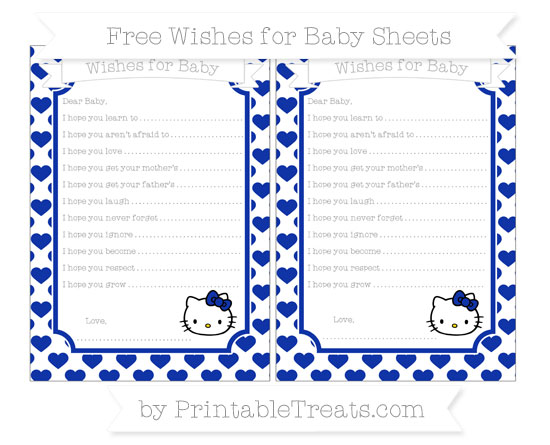 Free Egyptian Blue Heart Pattern Hello Kitty Wishes for Baby Sheets