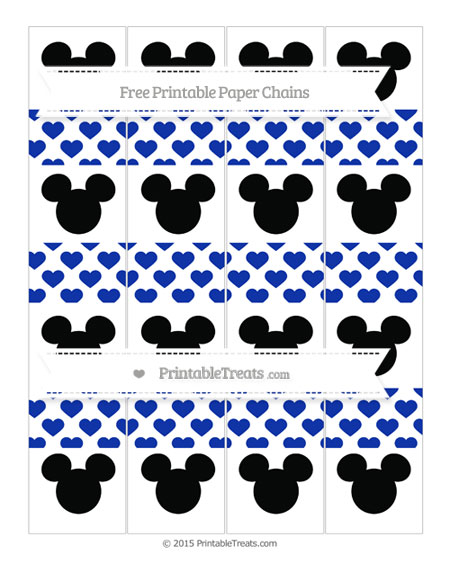 Free Egyptian Blue Heart Pattern Mickey Mouse Paper Chains