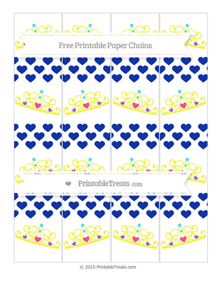 Free Egyptian Blue Heart Pattern Princess Tiara Paper Chains