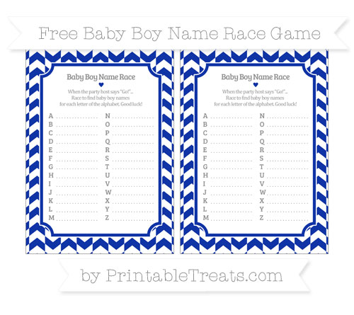 Free Egyptian Blue Herringbone Pattern Baby Boy Name Race Game