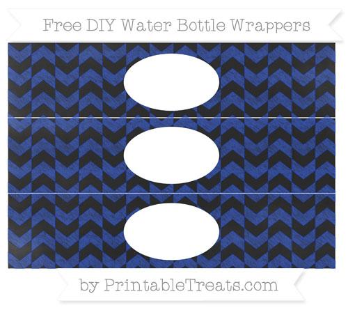Free Egyptian Blue Herringbone Pattern Chalk Style DIY Water Bottle Wrappers