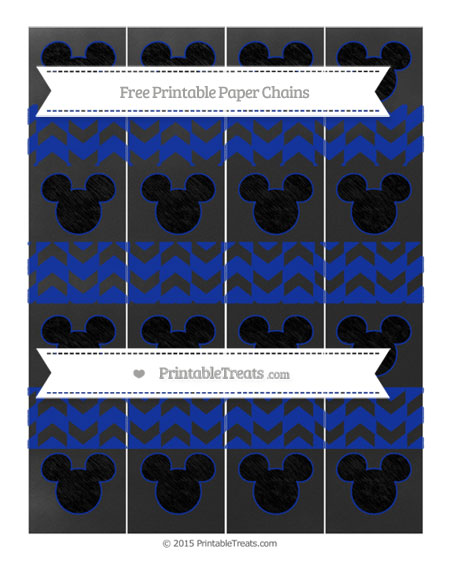 Free Egyptian Blue Herringbone Pattern Chalk Style Mickey Mouse Paper Chains