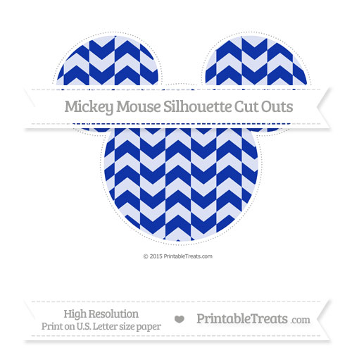 Free Egyptian Blue Herringbone Pattern Extra Large Mickey Mouse Silhouette Cut Outs