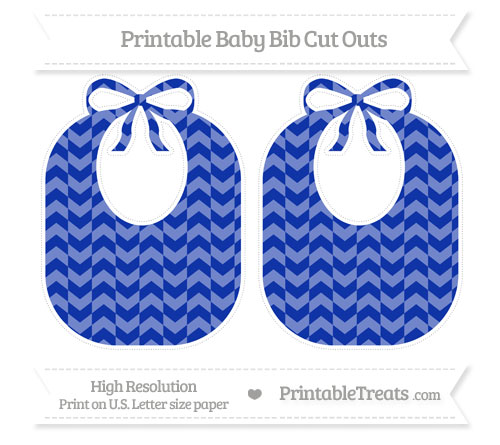 Free Egyptian Blue Herringbone Pattern Large Baby Bib Cut Outs