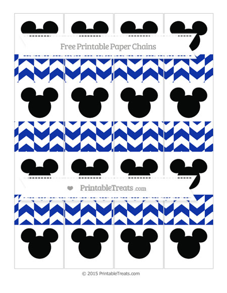 Free Egyptian Blue Herringbone Pattern Mickey Mouse Paper Chains