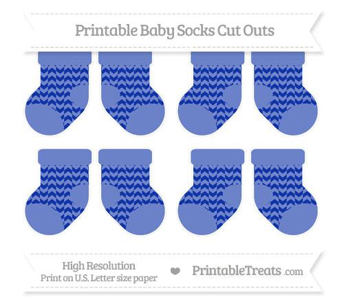 Free Egyptian Blue Herringbone Pattern Small Baby Socks Cut Outs