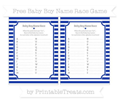 Free Egyptian Blue Horizontal Striped Baby Boy Name Race Game