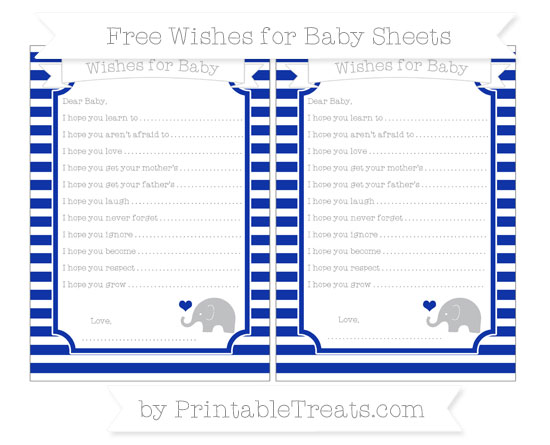 Free Egyptian Blue Horizontal Striped Baby Elephant Wishes for Baby Sheets