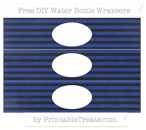 Free Egyptian Blue Horizontal Striped Chalk Style DIY Water Bottle Wrappers