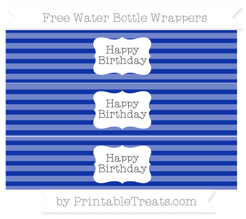 Free Egyptian Blue Horizontal Striped Happy Birhtday Water Bottle Wrappers