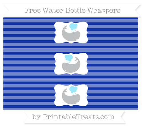 Free Egyptian Blue Horizontal Striped Whale Water Bottle Wrappers