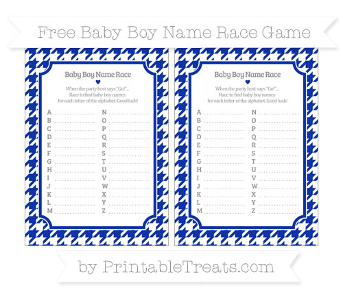 Free Egyptian Blue Houndstooth Pattern Baby Boy Name Race Game