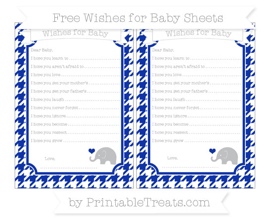 Free Egyptian Blue Houndstooth Pattern Baby Elephant Wishes for Baby Sheets