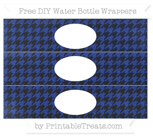 Free Egyptian Blue Houndstooth Pattern Chalk Style DIY Water Bottle Wrappers