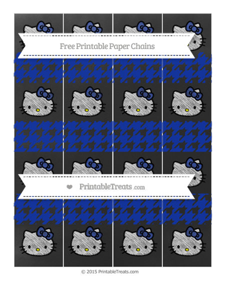 Free Egyptian Blue Houndstooth Pattern Chalk Style Hello Kitty Paper Chains