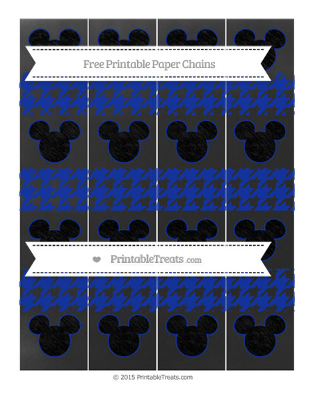 Free Egyptian Blue Houndstooth Pattern Chalk Style Mickey Mouse Paper Chains