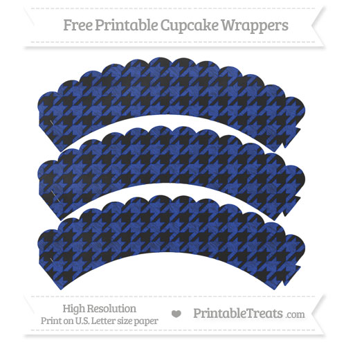 Free Egyptian Blue Houndstooth Pattern Chalk Style Scalloped Cupcake Wrappers