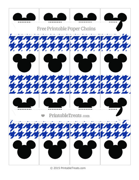 Free Egyptian Blue Houndstooth Pattern Mickey Mouse Paper Chains