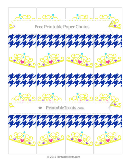 Free Egyptian Blue Houndstooth Pattern Princess Tiara Paper Chains