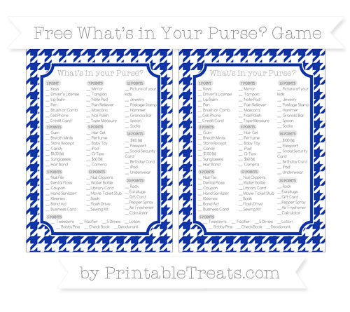 Free Egyptian Blue Houndstooth Pattern What's in Your Purse Baby Shower Game