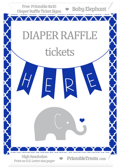 Free Egyptian Blue Moroccan Tile Baby Elephant 8x10 Diaper Raffle Ticket Sign