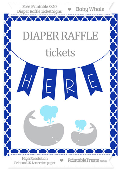 Free Egyptian Blue Moroccan Tile Baby Whale 8x10 Diaper Raffle Ticket Sign