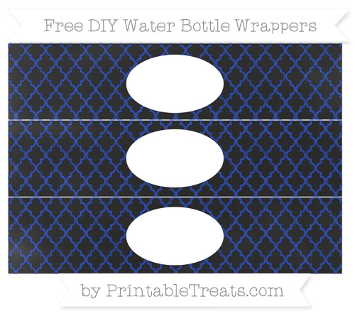 Free Egyptian Blue Moroccan Tile Chalk Style DIY Water Bottle Wrappers