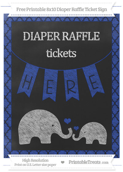 Free Egyptian Blue Moroccan Tile Chalk Style Elephant 8x10 Diaper Raffle Ticket Sign