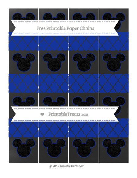 Free Egyptian Blue Moroccan Tile Chalk Style Mickey Mouse Paper Chains