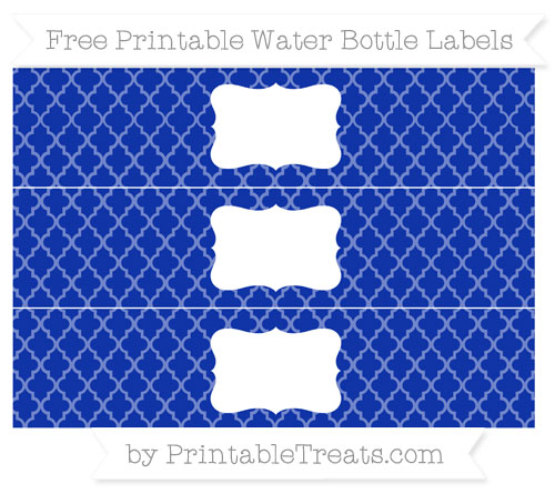Free Egyptian Blue Moroccan Tile Water Bottle Labels