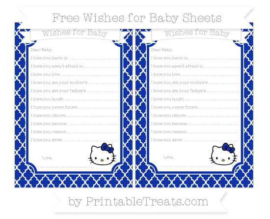 Free Egyptian Blue Moroccan Tile Hello Kitty Wishes for Baby Sheets
