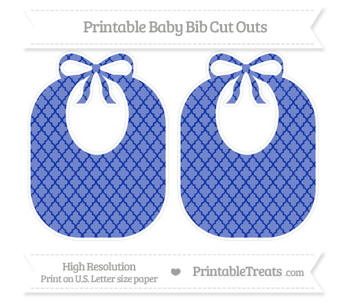 Free Egyptian Blue Moroccan Tile Large Baby Bib Cut Outs