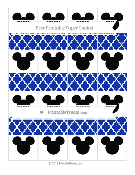 Free Egyptian Blue Moroccan Tile Mickey Mouse Paper Chains