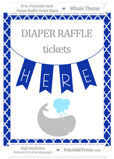 Free Egyptian Blue Moroccan Tile Whale 8x10 Diaper Raffle Ticket Sign