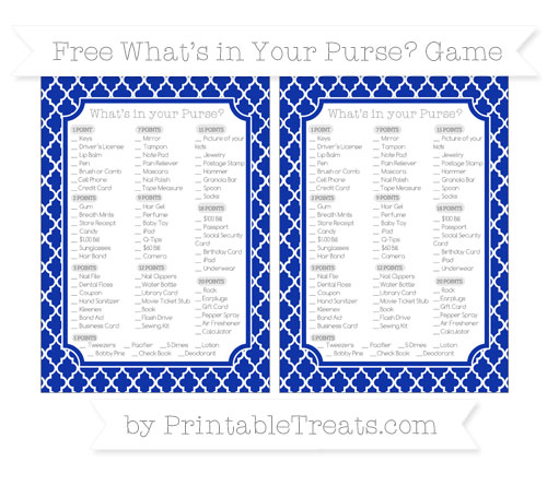 Free Egyptian Blue Moroccan Tile What's in Your Purse Baby Shower Game