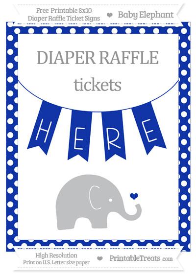 Free Egyptian Blue Polka Dot Baby Elephant 8x10 Diaper Raffle Ticket Sign