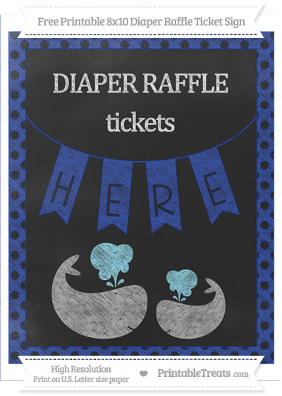 Free Egyptian Blue Polka Dot Chalk Style Baby Whale 8x10 Diaper Raffle Ticket Sign