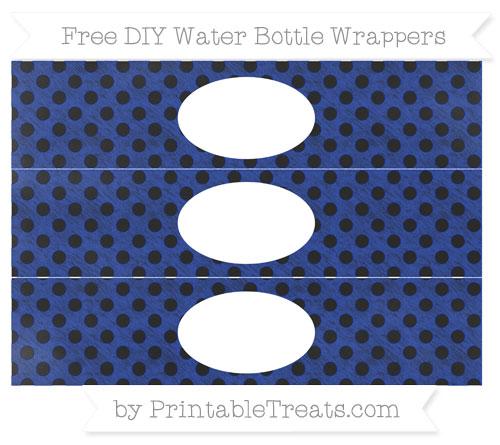 Free Egyptian Blue Polka Dot Chalk Style DIY Water Bottle Wrappers
