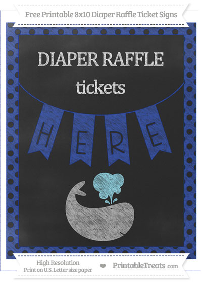 Free Egyptian Blue Polka Dot Chalk Style Whale 8x10 Diaper Raffle Ticket Sign