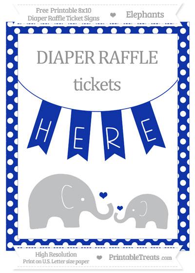 Free Egyptian Blue Polka Dot Elephant 8x10 Diaper Raffle Ticket Sign