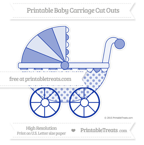 Free Egyptian Blue Polka Dot Extra Large Baby Carriage Cut Outs